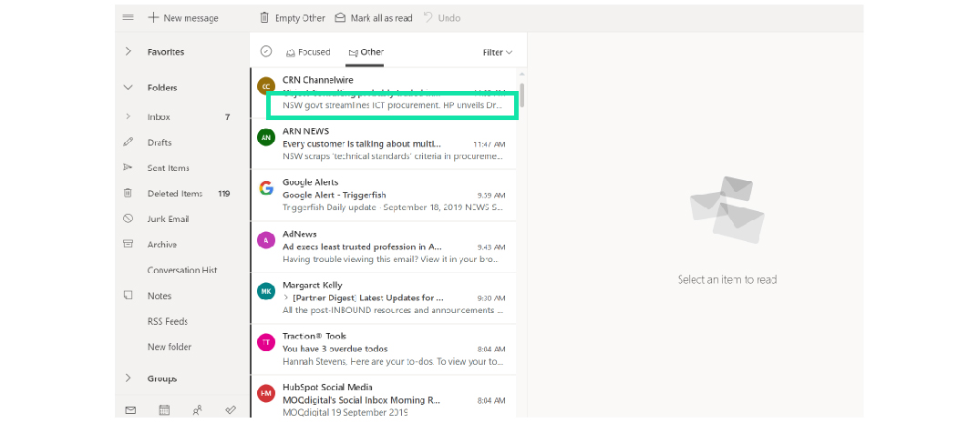 Outlook Email Preview Text